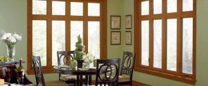 casement windows in a dining area