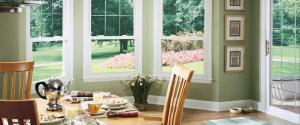 3 double-hung windows in a kitchen