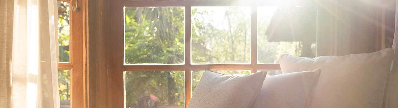 sun beaming through a window, inside view